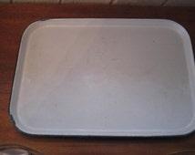 White enamel porcelain trays with black edging, school cafeteria tray, utilitarian trays