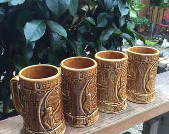 Set of Four Vintage Shenango Gesundheit Mugs