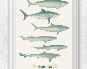 Watch Out Sharks Typography Home Decor Wall Art Poster SPNR016