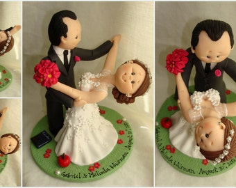 Waltz Dancing cake topper- Custom made bride and groom wedding cake topper