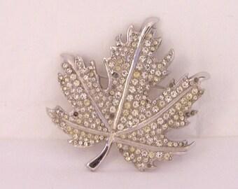 Vintage Silver Toned Brooch, Silver Rhinestone Brooch, Maple Leaf, BondBoyd Brooch