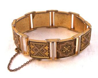 Vintage Damascene Bracelet, Golden and Black Bracelet, Spanish Style Link Bracelet