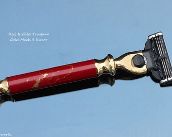 Red & Gold Trustone Mach 3 Razor