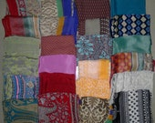 SALE Lot of 10 Small Indian Sari Scarves FREE SHIPPING