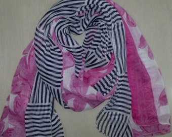 Long Scarf Indian Sari Scarf Pink with Black and White LSF1