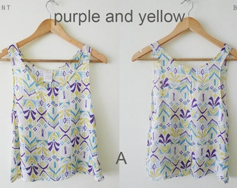 100% cotton AZTEC graphic prints sleeveless blouse, spring summer tank, loose tank, deep arm hole  top, tribal prints, comfy, pastel, Small