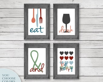 Modern Kitchen Art Prints Eat Drink Love Be Grateful Live