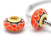 Top 24K Gold Plated Screw Core Orang Lotus Murano Glass Beads European Charm Beads - Fits European Charm Bracelets /GS02