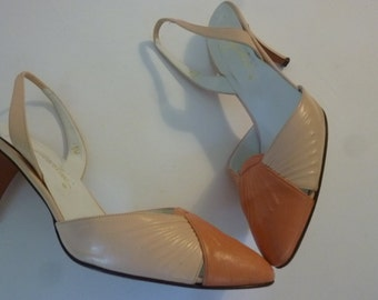 """80's Shoes Pink Leather Slingback Pumps 3"""" Heels Size 8M Made in Italy"""