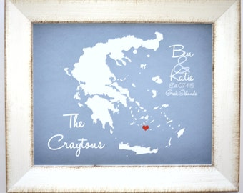 Personalized Wedding Gift For Bride and Groom, Custom Anniversary Present Destination Wedding Honeymoon Gift Newlywed Greece Map Art Print