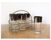 Set of 6 Queen's Lusterware Tumblers with Caddy