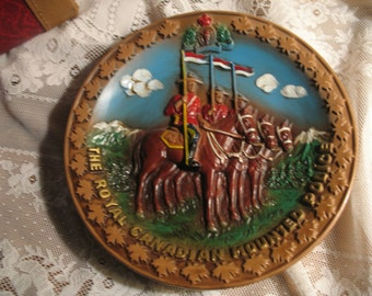 Plate of Police mounted on horseback Canadian 1970
