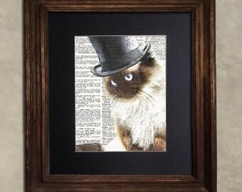 Dictionary Print: Quizzical Steampunk Ragdoll Cat in Top Hat, Steampunk Cat Art Print