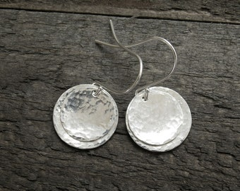 Silver Disc Earrings, Silver Dangle Earrings, Silver Earrings, Drop Earrings, Silver Hammered Earrings