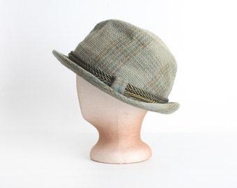 Vintage Green Tweed Men's Fedora Hat