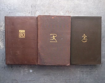 3 Brown Vintage Modern Library Books