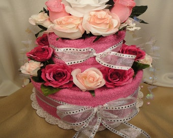 Pink Bridal Shower Towel Cake - Wedding Gift - Shower Centerpiece - Bridal Shower Gift