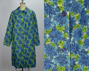 1960s April Showers Bring May Flowers: Blue & Green Floral Spring Coat