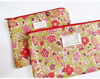 Large and small zip pouch cosmetic makeup pouch pouch travel organizer pencil case coin purse red flower garden