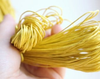 Lemon Yellow  Wax Cotton Cord 1 mm 9 meters - 9,84 yards or 29,52 feet