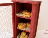 Dollhouse  Miniature Pie Safe Cabinet