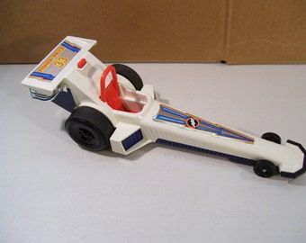 Vintage Fisher Price Dragster Wheelie Friction Indy Race Car Vehicle, 1980