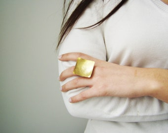 Square gold ring, modern, minimalist gold square ring of matte, gold plated brass, adjustable gold ring, modern, statement ring