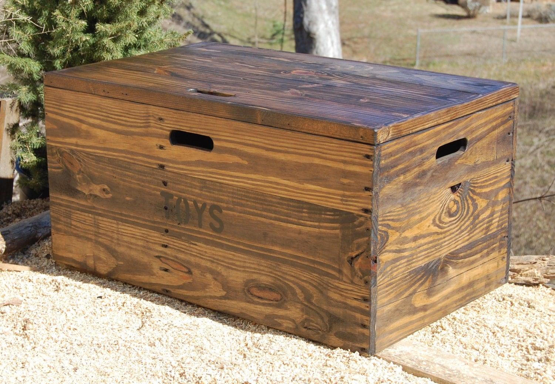 Wooden crate with lid toy chest entryway furniture coffee - Que faire avec des caisses en bois ...