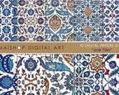 Digital Paper Pack 'Iznik Tiles - Set 01' Download and Print Patterns for Scrapbook, Invitations, Decoupage, Cards, Paper Crafts, Design...