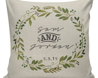 Personalized LOVE Wedding Pillow Cotton Anniversary Gift Cotton and Burlap Pillow Cover Choose your Name and Date WE-111 Elliott Heath