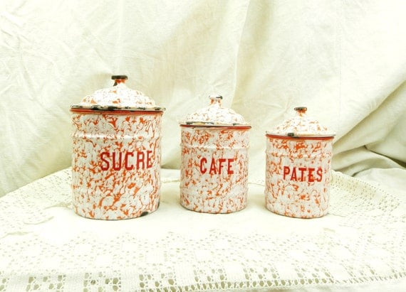 Antique 3 Piece French Red and White Marbled Enamel Canister Set, Enamelware Cannisters from France, Art Deco Kitchenware, Country Kitchen
