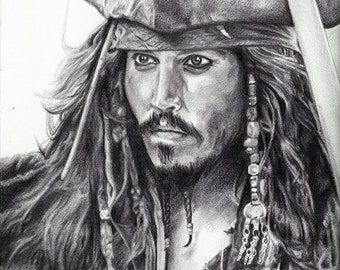 """Print of Johnny Depp as Jack Sparrow from """"Pirates of the Caribbean"""""""