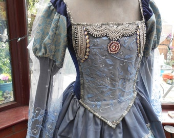 Handmade Tudor Anne Bolyne princess stage party gown medieval queen made in satin brocade with jeweled gold  trimming
