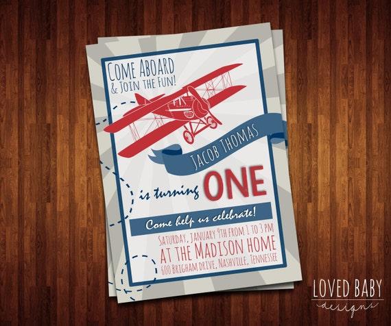 Airplane Birthday Invitation Diy Printable By Vindee On Etsy: Vintage Airplane Birthday Invitation DIY By LovedBabyDesigns