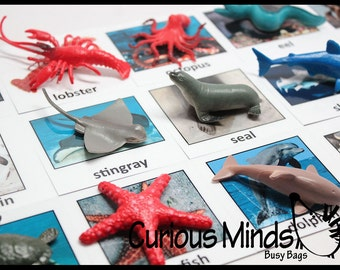 Montessori Ocean Animal Match - Miniature Animals with Matching Cards - 2 Part Cards.  Montessori learning toy, language materials
