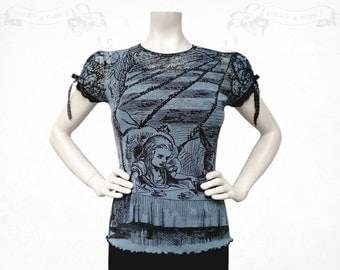 Alice in wonderland Mad Tea Party Mesh Top Blue