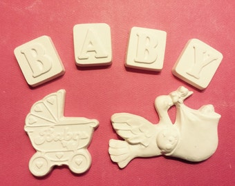 Baby Set Plaster Figerine for crafting projects