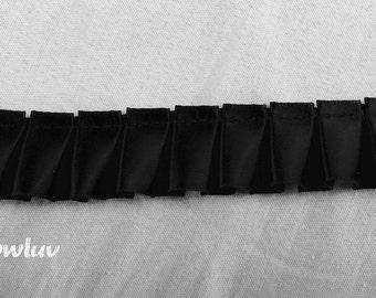 "Black Satin Box pleated Trim 7/8"" crafts wedding scrapbook"