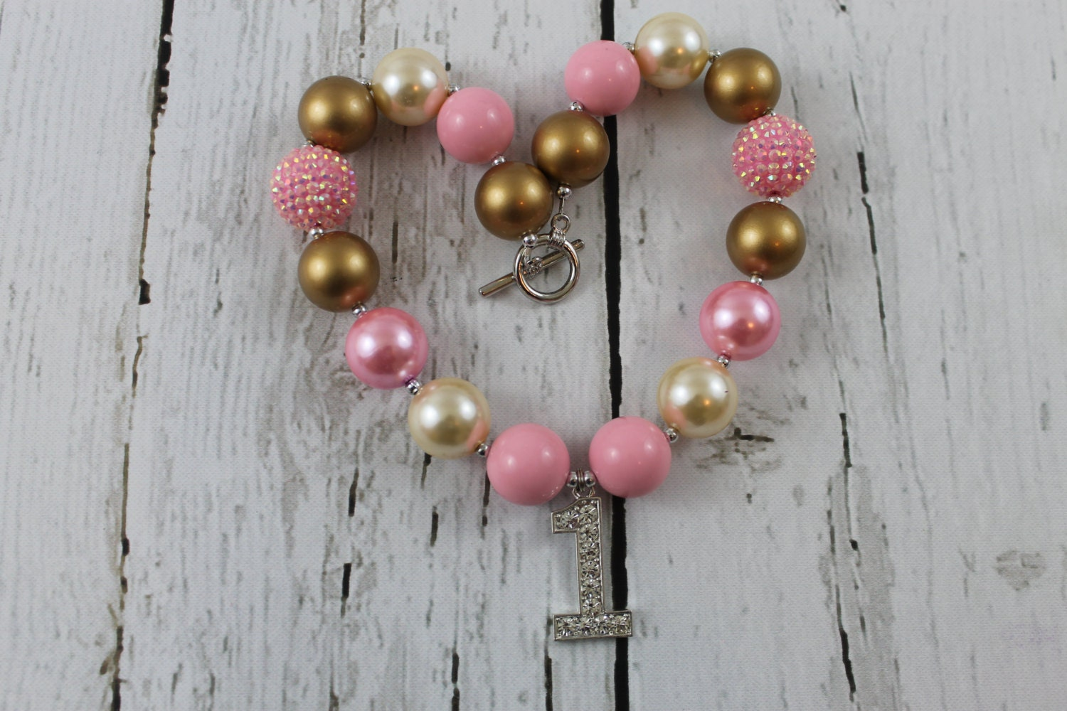 gold pink baby chunky necklace toddler bead necklace