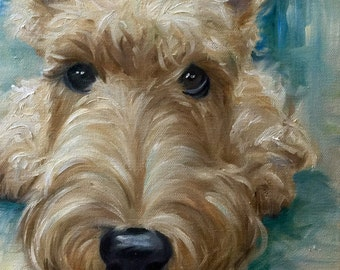 """Print of Original Wheaten ScottishTerrier Scottie Dog Art by Mary Sparrow Colorful Fun Whimsical Choose your Canvas """"Being Still"""""""