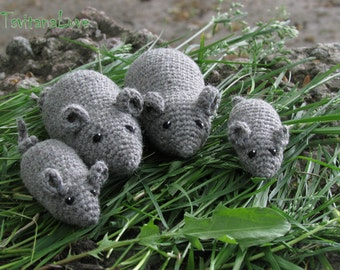Crochet Mouse (4 pcs) - mouse Family - Eco-Friendly - Waldorf - Montessori - role playing games - Miniatures games - Ready to ship