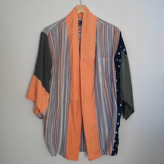 Upcycled silk kimono, one size up to XL, OOAK