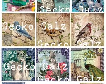 Vintage Birds Collage Sheet
