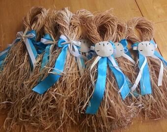 Starfish, Sand dollar Raffia  Aisle hangers. Set of 10
