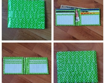 Green and White Duct Tape Wallet