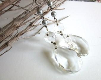 Czech Crystal & Gray Glass Pearl Teardrop Earrings Drop Chandelier