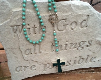 Agate Cross Rosary