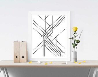 Directions Print 1, Geometric Lines, Black and White, A4 8x10 Fine Art Print, Scandinavian Style, Minimalist Art, Subway Inspired, fine line