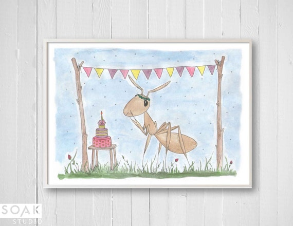 Birthday Cake Nursery Art Print 8x10 Illustration