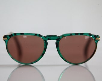 Vintage eyewear, Crystal Green, Black Frame,  Gold, Tinted Lenses RX Prescription .